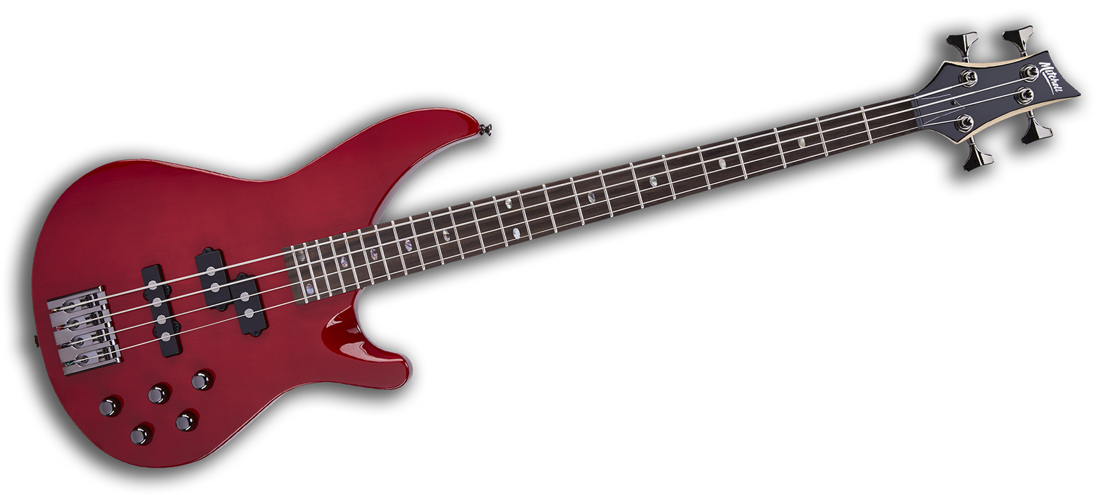 Mitchell MB300 Electric Bass Guitar Transparent Red