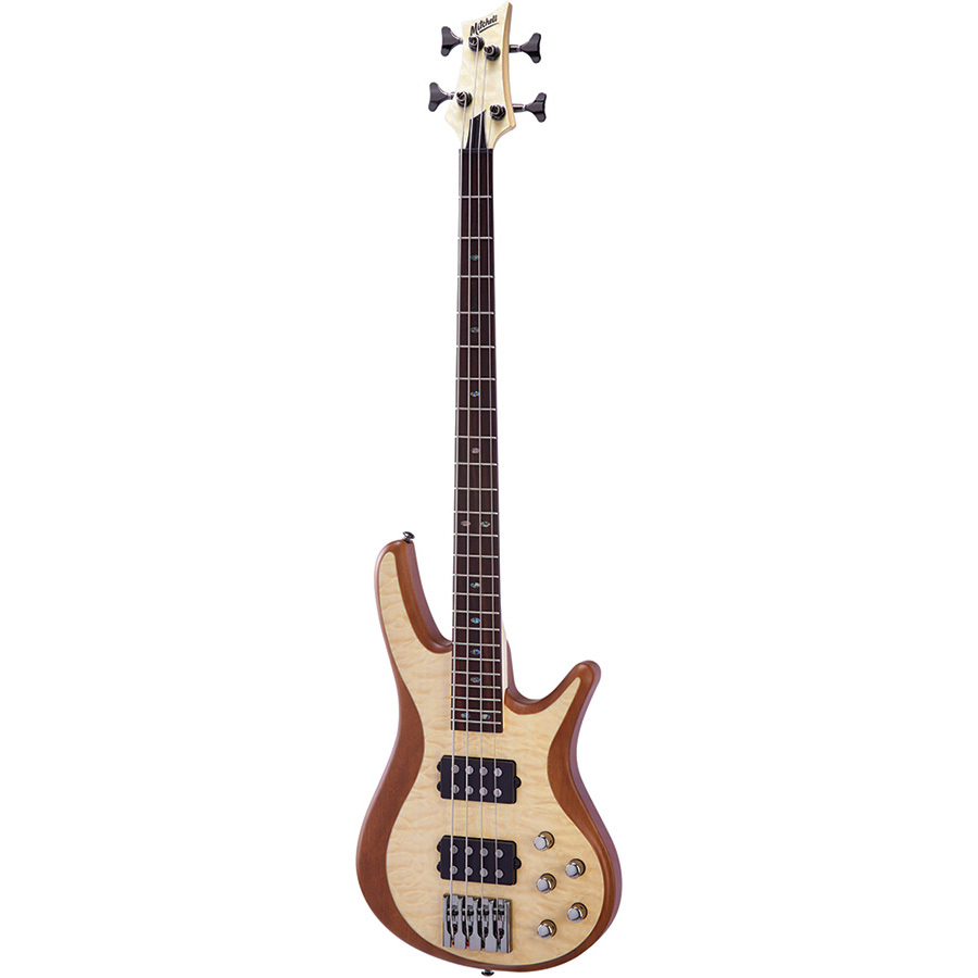 FB700QNT Mitchell Electric Bass Guitar Natural Quilt