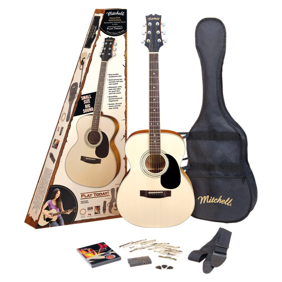 Mitchell O120SPK Auditorium Solid-Top Spruce Acoustic Guitar Pack