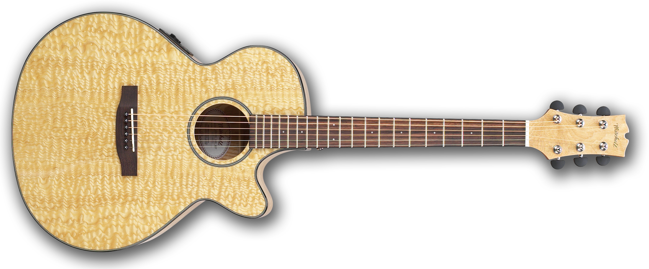 Mitchell MX400 Exotic Wood Guitar Quilted Ash Burl