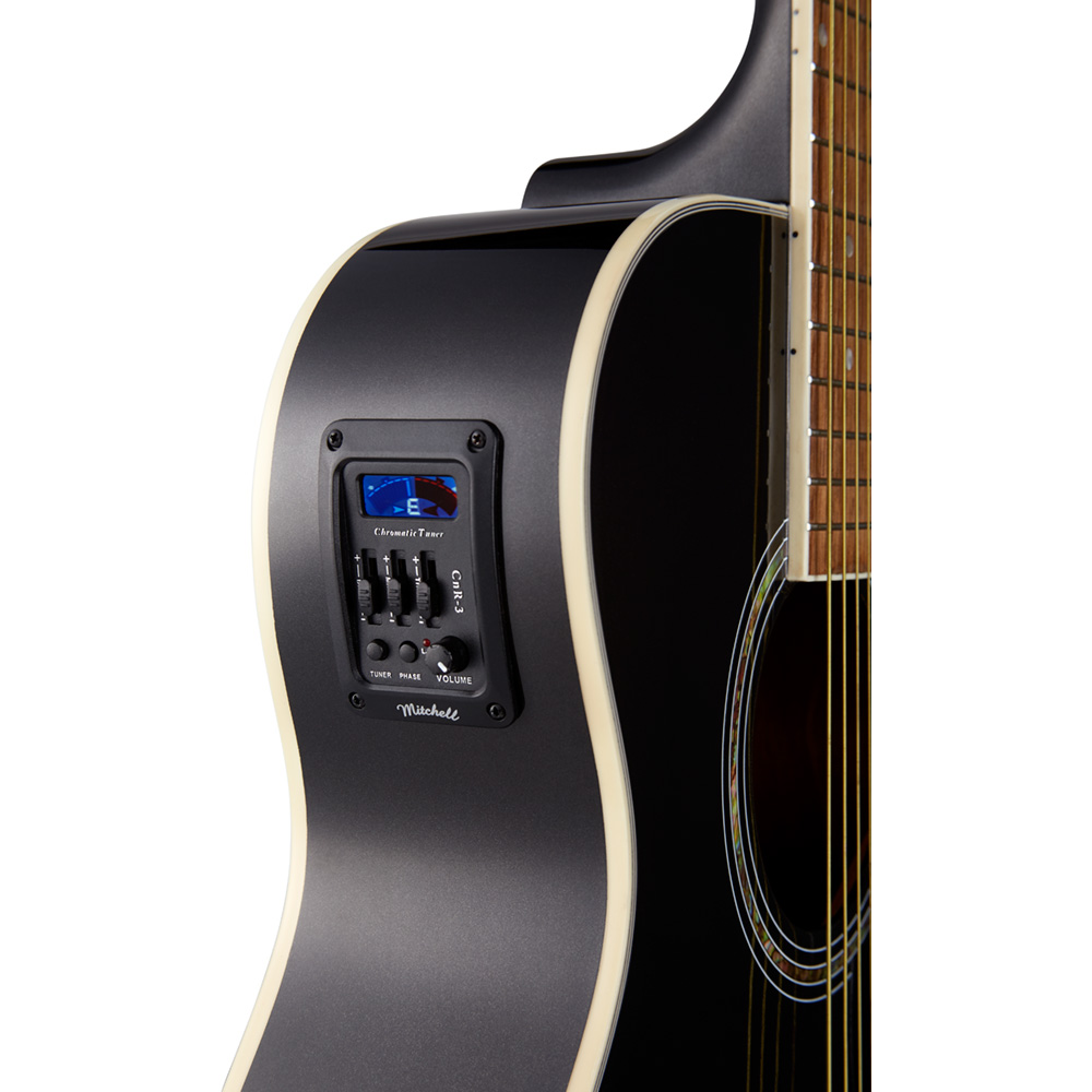 Mitchell O120CEMB Cutaway Acoustic-Electric Guitar Metal Black