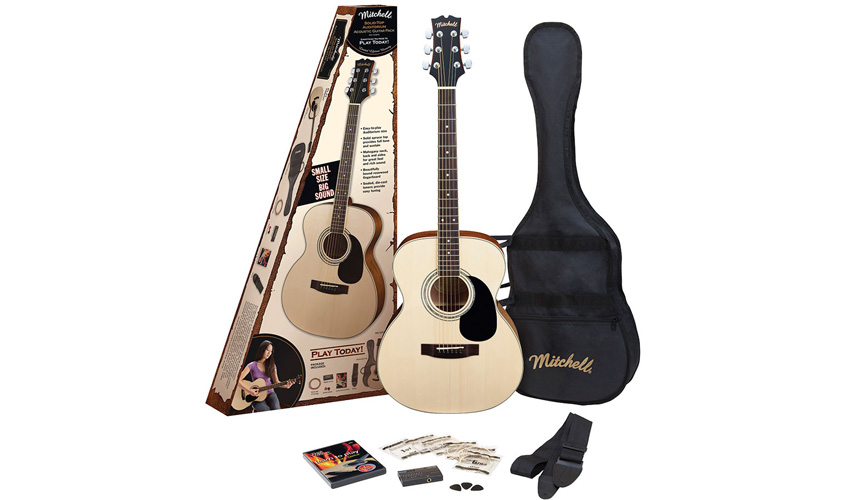 Mitchell MO100SPK Solid Spruce Top Auditorium Acoustic Guitar Pack