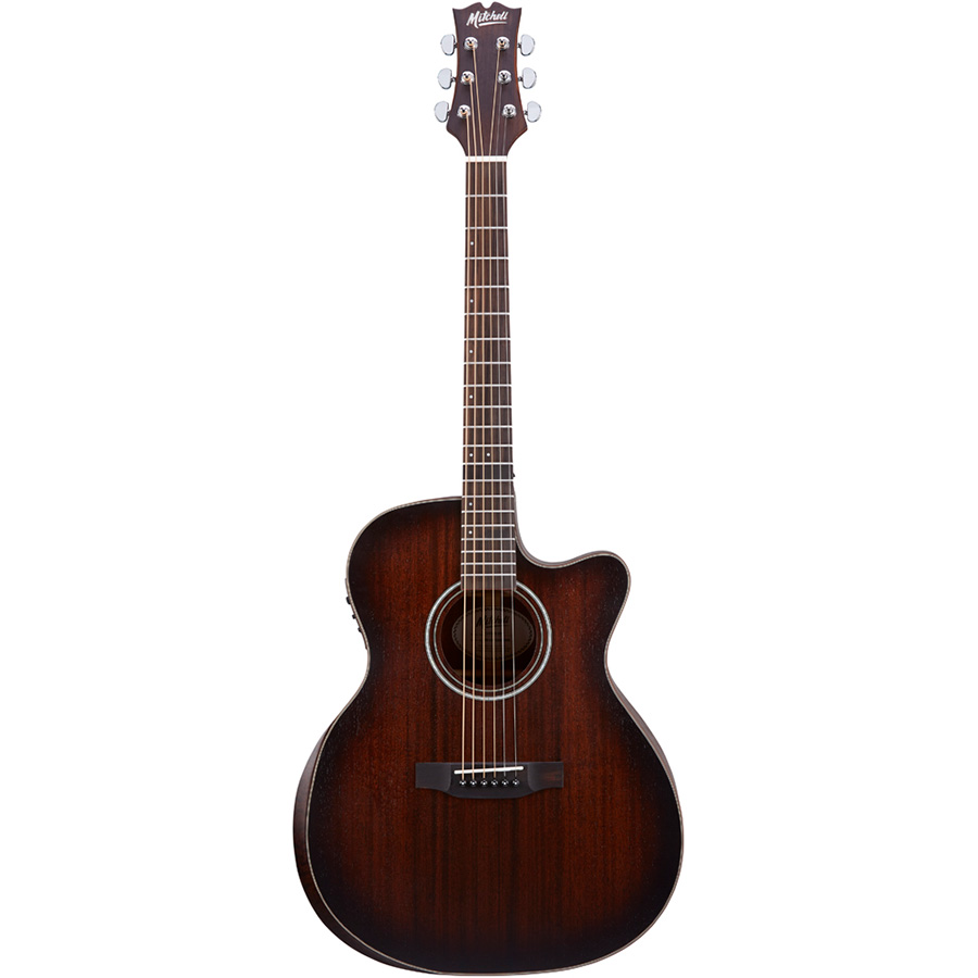 Mitchell T433CE-BST Auditorium Acoustic-Electric w/Solid Striped Mahogany Top