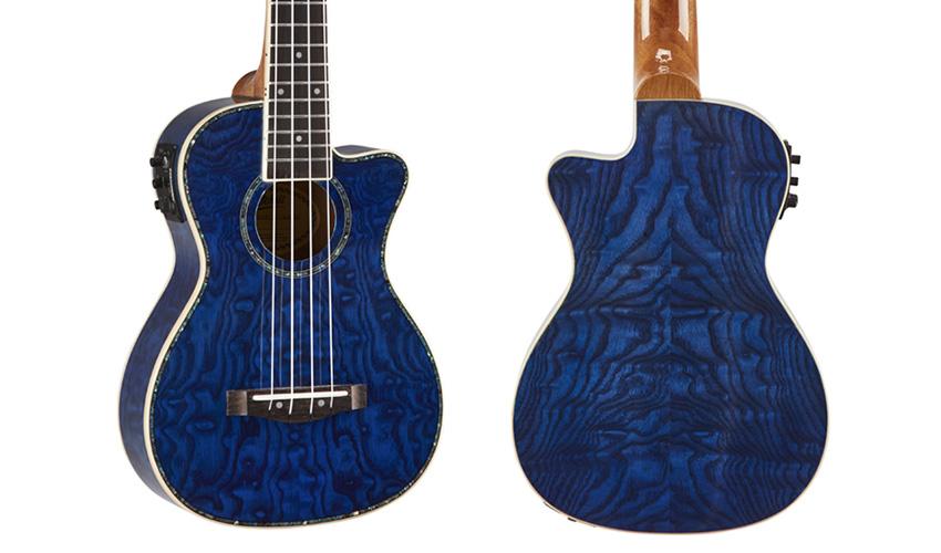 Mitchell MU80XCE Quilted Ash Blue Ukulele