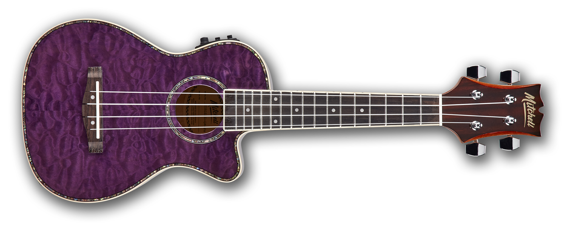 Mitchell MU80XCE Exotic Acoustic/Electric Concert Ukulele Quilted Maple