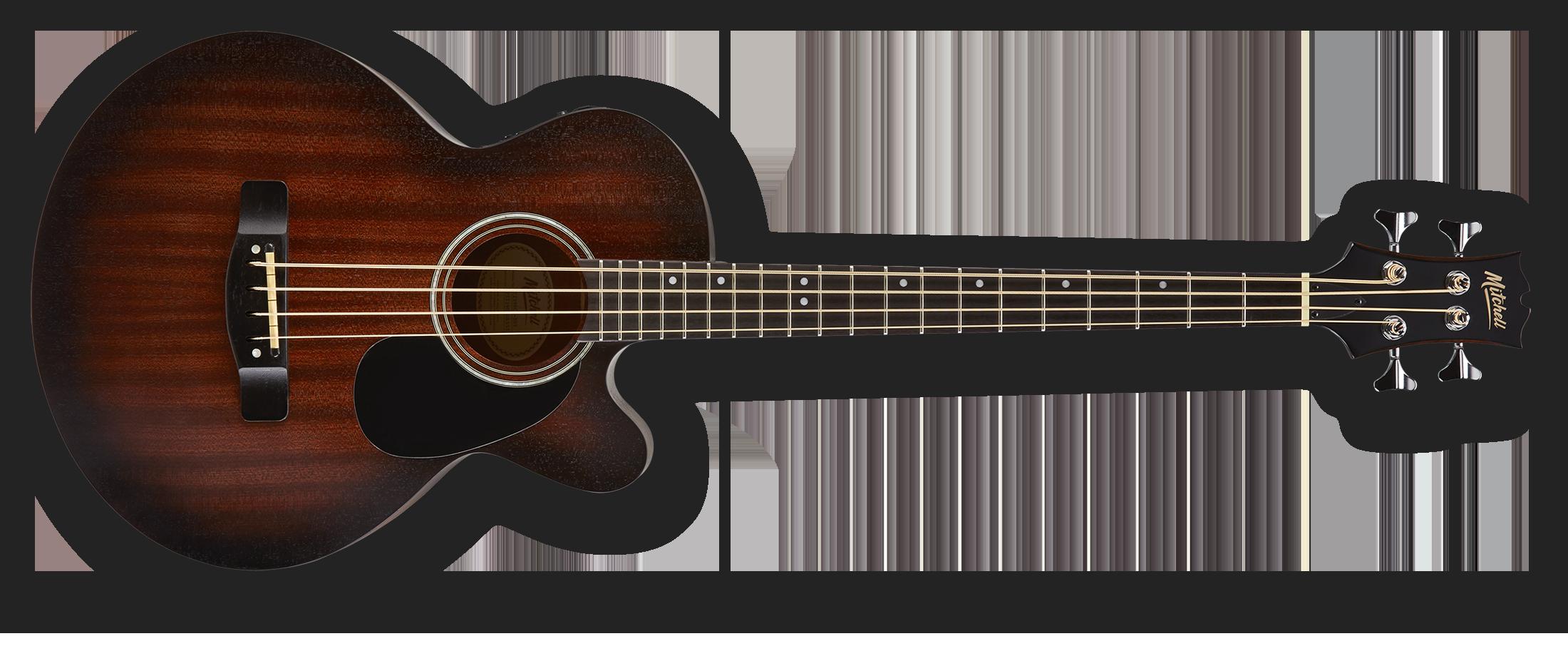 Mitchell T239BCE-BST Acoustic-Electric, Mini-Jumbo Bass Guitar