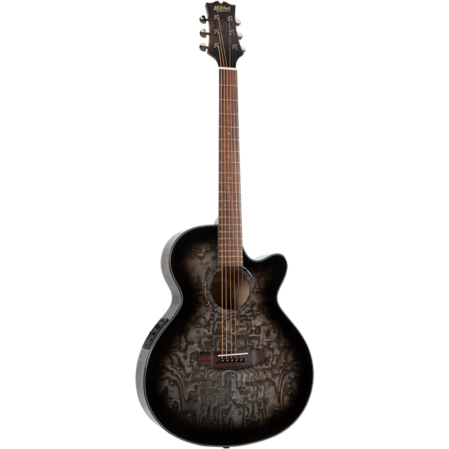 Mitchell MX430QAB Exotic Acoustic-Electric Quilted Ash Burl Midnight Black