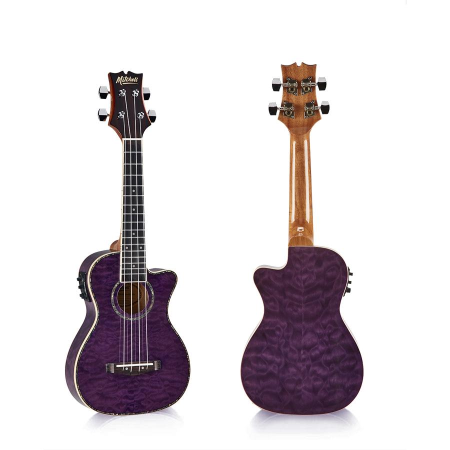 Mitchell MU80XCE Concert Ukulele Quilted Purple