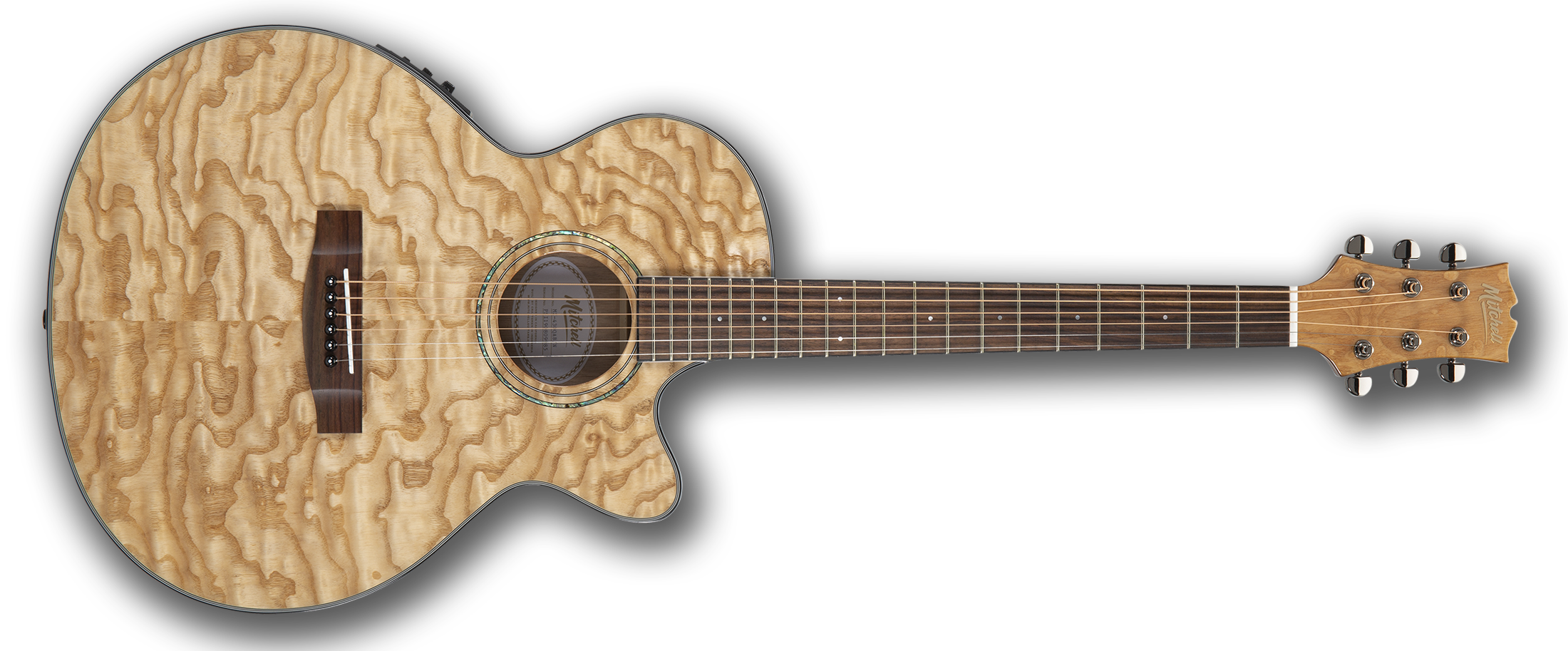 Mitchell MX430QAB Exotic Acoustic Electric Guitar Quilted Ash Burl