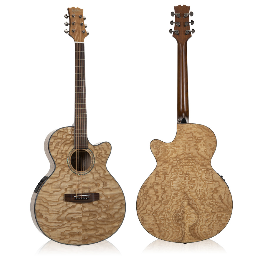 Mitchell MX430QAB Exotic Acoustic-Electric Quilted Ash Burl Natural